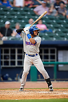 Midland RockHounds catcher Andy Paz (45) at bat during a game against the Northwest Arkansas Naturals on May 27, 2017 at Arvest Ballpark in Springdale, Arkansas.  NW Arkansas defeated Midland 3-2.  (Mike Janes/Four Seam Images)