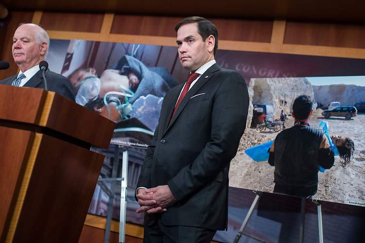 UNITED STATES - APRIL 5: Sens. Marco Rubio, R-Fla., right, and Ben Cardin, D-Md., conduct a news conference in the Capitol to decry the recent use chemical weapons they say Syrian President Bashar al-Assad used in that country's civil war, April 5, 2017. (Photo By Tom Williams/CQ Roll Call)