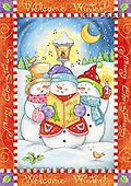 Interlitho, Andrea, CHRISTMAS SANTA, SNOWMAN, paintings, 3 snowmen, singing(KL5669,#X#)