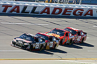 Kevin Harvick (29) leads Clint Bowyer (33), Jamie McMurray (1) and Juan Pablo Montoya (42) during the Aaron's 499 at Talladega Superspeedway, Talladega, AL, April 17, 2011.  (Photo by Brian Cleary/www.bcpix.com)