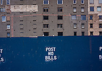 Post No Bills is posted on a  construction shed in the Tribeca neighborhood of New York on Sunday, May 26, 2013. (© Richard B. Levine)