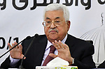 Palestinian President Mahmoud Abbas attends a meeting with the Revolutionary Council of Fatah party in the West Bank city of Ramallah on October 12, 2018. Photo by Thaer Ganaim