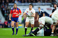 Ben Youngs of England passes the ball. RBS Six Nations match between England and Scotland on March 11, 2017 at Twickenham Stadium in London, England. Photo by: Patrick Khachfe / Onside Images