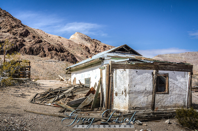The Moffat house built by Bessi Moffat sometime in the 1930's in the Ghost Towm of Rhyolite Nevada.<br /> <br /> Rhyolite is a ghost town in Nye County, in the U.S. state of Nevada. It is located in the Bullfrog Hills, about 120 miles (190 km) northwest of Las Vegas, near the eastern edge of Death Valley.