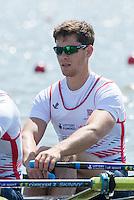 Brandenburg. GERMANY. GBR M4X. Bow. Angus GROOM.<br /> 2016 European Rowing Championships at the Regattastrecke Beetzsee<br /> <br /> Friday  06/05/2016<br /> <br /> [Mandatory Credit; Peter SPURRIER/Intersport-images]