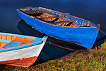 Wooden boats shored, southern Chile, South America