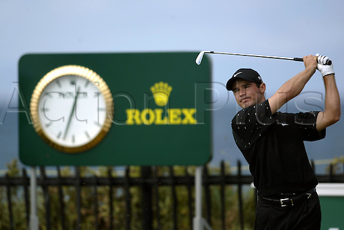 18 July 2004:  South African golfer Trevor Immelman (RSA) drives off the 3rd tee during the final round of The Open Championship played at Royal Troon, Scotland. Photo: Glyn Kirk/Action Plus...golf iron driving sponsorship rolex 040718
