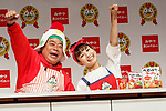 (L to R) Japanese comedian Tetsuro Degawa and Chinese singer Long Mengrou, Oyatsu special ambassadors, pose for the cameras during a news conference to launch a new TV commercial for Baby-Star Ramen on August 6, 2018, Tokyo, Japan. Oyatsu Company announced the new commercial to celebrate 60 years of sales for Baby-Star Ramen in the Japanese market. The new TV commercial will be first shown on August 10. (Photo by Rodrigo Reyes Marin/AFLO)