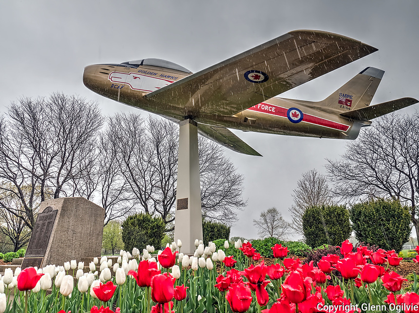 Golden Hawks memorial jet, Germain Park, and 150th anniversary tulips