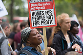 Homes For People Not For Profit.  StopHDV protest against proposed privatisation of Haringey council estates, Tottenham, London.
