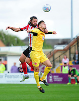 Lincoln City's Michael Bostwick vies for possession with Morecambe's Michael Rose<br /> <br /> Photographer Andrew Vaughan/CameraSport<br /> <br /> The EFL Sky Bet League Two - Lincoln City v Morecambe - Saturday August 12th 2017 - Sincil Bank - Lincoln<br /> <br /> World Copyright &copy; 2017 CameraSport. All rights reserved. 43 Linden Ave. Countesthorpe. Leicester. England. LE8 5PG - Tel: +44 (0) 116 277 4147 - admin@camerasport.com - www.camerasport.com