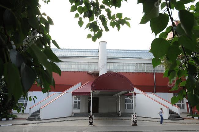 The steps of the Svoboda Club, designed by Konstantin Melnikov. Moscow, Russia, July 20, 2009