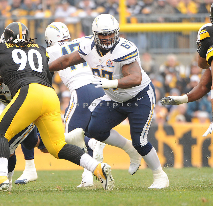 San Diego Chargers Rex Hadnot (67) in action during a game against the Steelers on December 9, 2012 at Heinz Field in Pittsburgh, PA. The Chargers beat the Steelers 34-24..