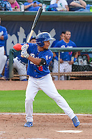Kelvin Ramos (8) of the Ogden Raptors at bat against the Idaho Falls Chukars in Pioneer League action at Lindquist Field on August 26, 2015 in Ogden, Utah. Ogden defeated the Chukars 5-1.  (Stephen Smith/Four Seam Images)