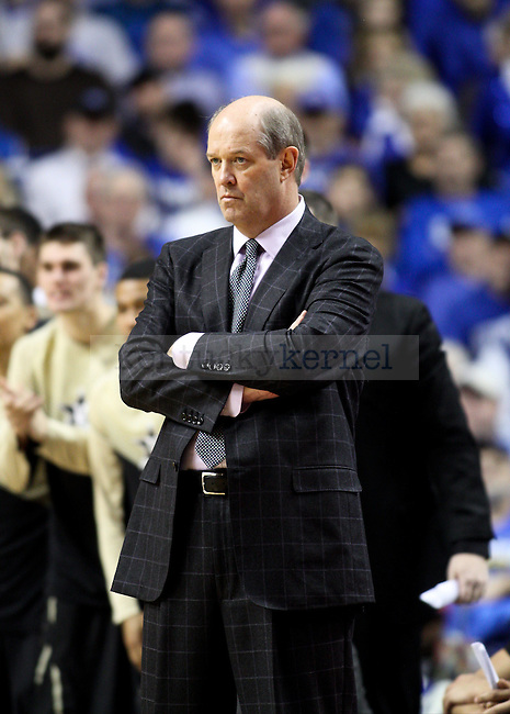 Vanderbilt head coach Kevin Stallings watches on during the second half of the University of Kentucky vs. Vanderbilt game at the Rupp Arena in Lexington , Ky., on Tuesday, January 20, 2015. Photo by Jonathan Krueger | Staff