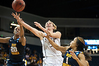 NORFOLK, VA--Toni Kokenis is fouled during play against West Virginia University at the Ted Constant Convocation Center at Old Dominion University for the second round of the 2012 NCAA Championships. The Cardinal advanced to the West Regionals in Fresno with a score of 72-55.