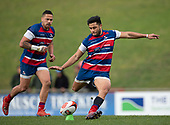 Jonathan Taumateine kicks a penalty for Ardmore Marist. Counties Manukau Premier 1 McNamara Cup Final between Ardmore Marist and Bombay, played at Navigation Homes Stadium on Saturday July 20th 2019.<br />  Bombay won the McNamara Cup for the 5th time in 6 years, 33 - 18 after leading 14 - 10 at halftime.<br /> Photo by Richard Spranger.