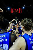 The Giants huddle after the national basketball league semifinal match between Nelson Giants and Southland Sharks at TSB Bank Arena in Wellington, New Zealand on Saturday, 4 August 2018. Photo: Dave Lintott / lintottphoto.co.nz