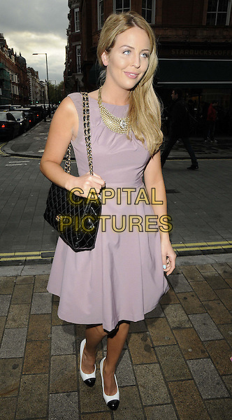 Lydia Rose Bright.attended the Natwest UK Fashion & Textile Awards 2013, One Mayfair, North Audley St., London, England, UK, 23rd May 2013..full length sleeveless grey gray purple lilac dress black chanel bag  two tone shoes .CAP/CAN.©Can Nguyen/Capital Pictures.