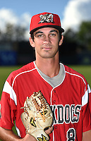 Batavia Muckdogs pitcher James Buckelew (8) poses for a photo before a game against the Lowell Spinners on July 16, 2014 at Dwyer Stadium in Batavia, New York.  Lowell defeated Batavia 6-4.  (Mike Janes/Four Seam Images)