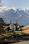 Overlooking church to Lake Léman and the mountains.Vevay close to Montreux, Luasanne, Switzerland.