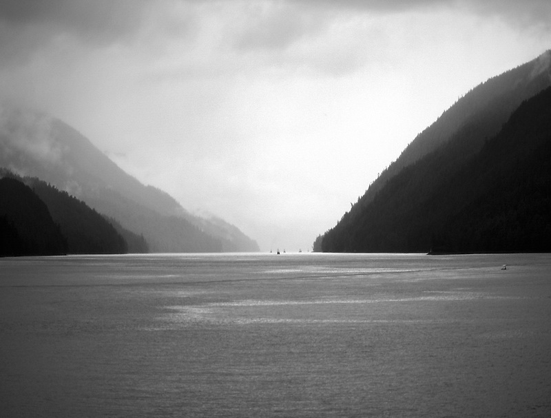 Boats in Inside Passage in rain.Canada