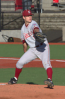 PULLMAN, WA-April 2, 2011:  Stanford starting pitcher Jordan Pries in a game against Washington State University in Pullman, Washington.  Stanford won the game 22-3.