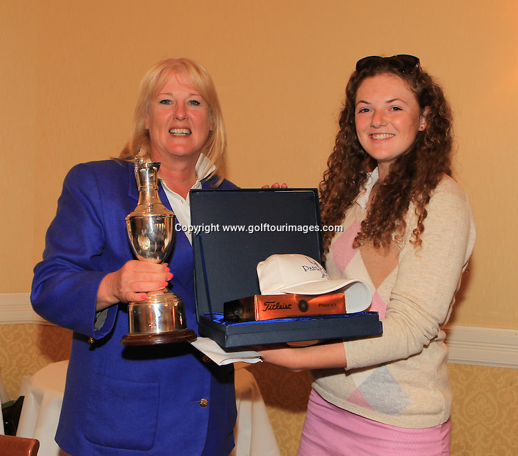 Dawn Butchart, Development Director, Scottish Ladies Golfing Association presented the trophy to 2013 Girls Champion Connie Jaffrey. The Paul Lawrie Foundation Scottish Schools Golf Championships played at Murrayshall House Hotel and Golf Courses on 10th June 2013: Picture Stuart Adams www.golftourimages.com: 10th June 2013