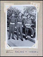 BNPS.co.uk (01202 558833)<br /> Pic: Bellmans/BNPS<br /> <br /> Comrades - Bill, Brian and Harry.<br /> <br /> A fascinating trove of SAS records including some of the first photographs of the elite force which have never been seen before has been unearthed. <br /> <br /> The extensive assortment, also including medals and documents, was accumulated by war hero Lance Corporal William James Cooke at the end of World War Two. <br /> <br /> Remarkable images of Cooke's previously unrevealed wartime exploits show him serving behind enemy lines in occupied France and assisting with the liberation of Norway. <br /> <br /> His accomplishments have come to light after a family member presented the bequeathed collection to Hampshire-based auctioneer Bellmans, which will sell it tomorrow.
