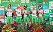 6th September 2017, Mansfield, England; OVO Energy Tour of Britain Cycling; Stage 4, Mansfield to Newark-On-Trent;  The Bardiani - CSF team pose for photos after registration sign-in at Mansfield