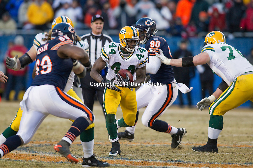 Green Bay Packers running back James Starks (44) carries the ball during the NFC Championship NFL football game against Chicago Bears on January 23, 2011, in Chicago. (AP Photo/David Stluka)