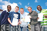 ONE DOWN: Students of Tralee Community College happy that first exam is over in the 2008 Leaving Cert on Wednesday morning l-r: Maxwell Mugabe, Chris Hegarty, Shane Hammock, Chris Moriarty and Seun Osinubi.   Copyright Kerry's Eye 2008