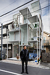 Tokyo, February 4 2013 - Portrait of japanese architect Sou Fujimoto in front of House NA.
