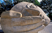 France Paris Sculptured head L Ecoute by Henri de Miller located outside St Eustache church.