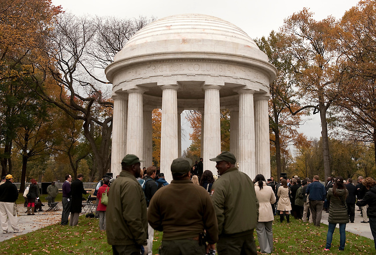 UNITED STATES - NOVEMBER 10:  The reopening celebration of the DC War Memorial, which was built in 1931 to memorialize the local heroes who served in World War I.  The Memorial and its grounds have been under restoration since August 2010. (Photo By Chris Maddaloni/CQ-Roll Call)