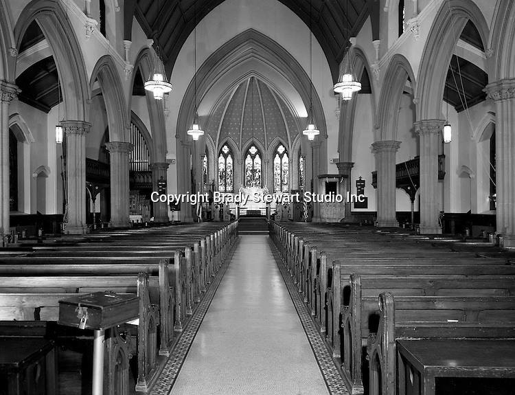 Pittsburgh PA:  The interior of the Trinity Episcopal Church in downtown Pittsburgh - 1947.  View of the inside of the church prior to the renovation after fire damaged the interior.