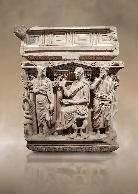 "End panel of a Roman relief sculpted Hercules sarcophagus with kline couch lid, ""Columned Sarcophagi of Asia Minor"" style typical of Sidamara, 250-260 AD, Konya Archaeological Museum, Turkey. Against a warm art background."