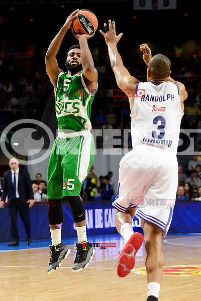 Real Madrid's player Anthony Randolph and Unics Kazan's player Keith Langford during match of Turkish Airlines Euroleague at Barclaycard Center in Madrid. November 24, Spain. 2016. (ALTERPHOTOS/BorjaB.Hojas) //NORTEPHOTO