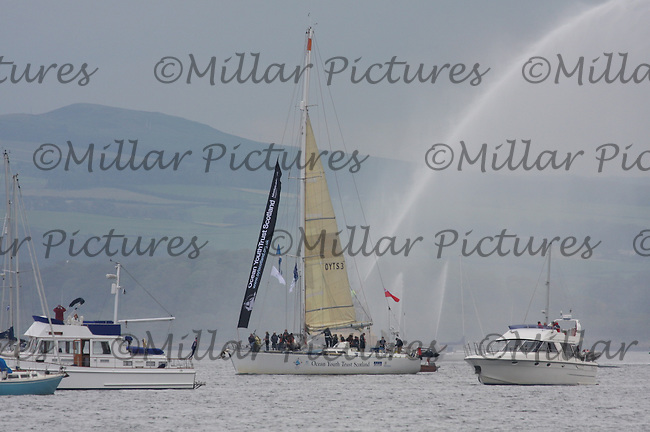 Class C ship Alba Explorer from the United Kingdom leaves Greenock in the Tall Ships Race 2011