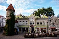 Estonia, Tallinn, Old town, UNESCO World Heritage Site. Flower market.