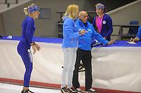 SCHAATSEN: HEERENVEEN: 19-09-2014, IJsstadion Thialf, Topsporttraining, Marianne Timmer (trainer Team Continu) Floor van Leeuwen (trainer Team Continu), Ireen Wüst, ©foto Martin de Jong