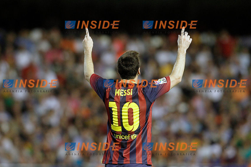 FC Barcelona's Leo Messi celebrates goal during La Liga match.September 1,2013. (ALTERPHOTOS/Acero) <br /> Football Calcio 2013/2014<br /> La Liga Spagna<br /> Foto Alterphotos / Insidefoto <br /> ITALY ONLY