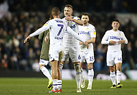 Leeds United's Kemar Roofe (left) and Liam Cooper congratulate each other at the final whistle<br /> <br /> Photographer Rich Linley/CameraSport<br /> <br /> The EFL Sky Bet Championship - Leeds United v Reading - Tuesday 27th November 2018 - Elland Road - Leeds<br /> <br /> World Copyright © 2018 CameraSport. All rights reserved. 43 Linden Ave. Countesthorpe. Leicester. England. LE8 5PG - Tel: +44 (0) 116 277 4147 - admin@camerasport.com - www.camerasport.com