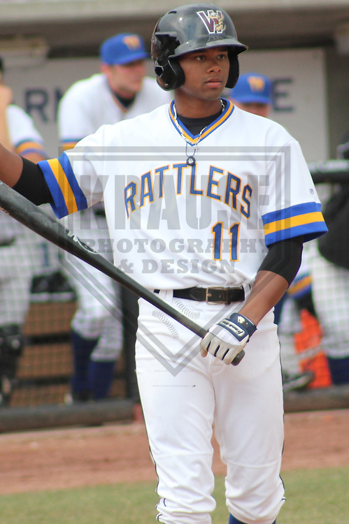 APPLETON - APRIL 2011: Reggie Keen (11) of the Wisconsin Timber Rattlers, Class-A affiliate of the Milwaukee Brewers, during a game on April 10, 2011 at Fox Cities Stadium in Appleton, Wisconsin. (Photo by Brad Krause) ....