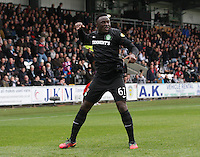Victor Wanyama celebrates scoring in the St Mirren v Celtic Clydesdale Bank Scottish Premier League match played at St Mirren Park, Paisley on 20.10.12.