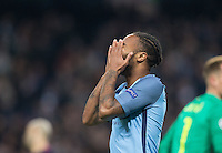 Raheem Sterling of Manchester City holds his head after a near miss during the UEFA Champions League match between Manchester City and Barcelona at the Etihad Stadium, Manchester, England on 1 November 2016. Photo by Andy Rowland / PRiME Media Images.