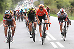 Silvan Dillier (SUI) AG2R La Mondiale, Sam Bewley (NZL) Mitchelton-Scott, PAtrick Bevin (NZL) CCC Team and Sergio Luis Henao Montoya (COL) UAE Team Emirates try to escape during Stage 12 of La Vuelta 2019 running 171.4km from Circuito de Navarra to Bilbao, Spain. 5th September 2019.<br /> Picture: Luis Angel Gomez/Photogomezsport | Cyclefile<br /> <br /> All photos usage must carry mandatory copyright credit (© Cyclefile | Luis Angel Gomez/Photogomezsport)