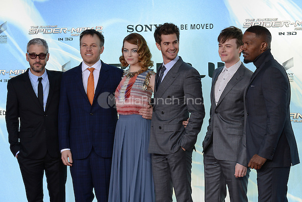 Matthew Tolmach, Marc Webb, Emma Stone, Andrew Garfield, Dane DeHaan and Jamie Foxx attending the &quot;Amazing Spider-Man 2&quot; Premiere at the CineStar IMAX, Sony Center, Potsdamer Platz, Berlin, Germany, 15.4.2014. <br /> Photo by Janne Tervonen/insight media /MediaPunch ***FOR USA ONLY***