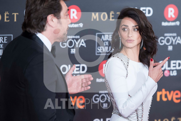 Javier Bardem and Penelope Cruz attends red carpet of Goya Cinema Awards 2018 at Madrid Marriott Auditorium in Madrid , Spain. February 03, 2018. (ALTERPHOTOS/Borja B.Hojas)