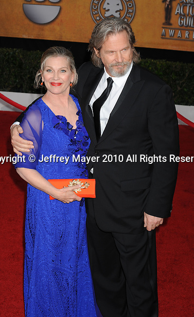 LOS ANGELES, CA. - January 23: Jeff Bridges and wife Susan Bridges  arrive at the 16th Annual Screen Actors Guild Awards held at The Shrine Auditorium on January 23, 2010 in Los Angeles, California.